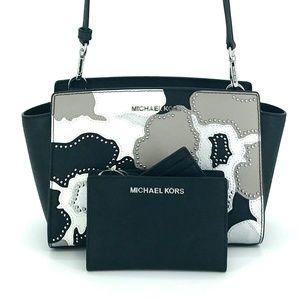 2PCS Michael Kors Selma MD Messenger Wallet Set